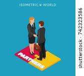 businessmen and woman handshake ...   Shutterstock . vector #742323586