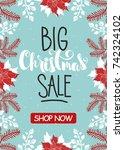 christmas sale banner drawn... | Shutterstock .eps vector #742324102