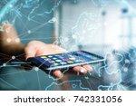 view of a technology network... | Shutterstock . vector #742331056