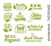 organic  fresh  farm  natural ... | Shutterstock .eps vector #742331602