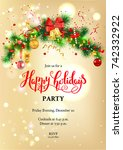 luxury decoration with fir and... | Shutterstock .eps vector #742332922