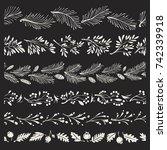 christmas hand drawn borders... | Shutterstock .eps vector #742339918