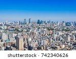 panoramic view of tokyo... | Shutterstock . vector #742340626