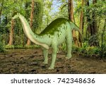 3D Illustration of Large Dinosaur Standing in Swamp