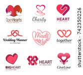 red heart   vector set logo... | Shutterstock .eps vector #742350226