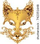 gold art pattern dog head image.... | Shutterstock .eps vector #742351648