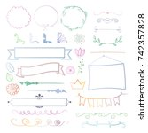 set of soft colored decorative... | Shutterstock .eps vector #742357828