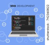 web development infographic.... | Shutterstock .eps vector #742360822