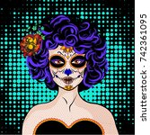 pop art young woman comics icon.... | Shutterstock .eps vector #742361095