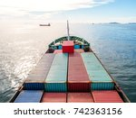 container container ship in... | Shutterstock . vector #742363156