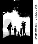 silhouettes of children playing | Shutterstock .eps vector #742370146