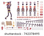 firefighter character creation... | Shutterstock .eps vector #742378495