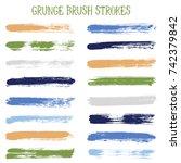 modern watercolor daubs set ... | Shutterstock .eps vector #742379842