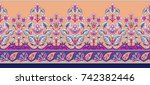 seamless traditional indian... | Shutterstock . vector #742382446