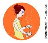 beautiful girl makes tea.... | Shutterstock .eps vector #742383058