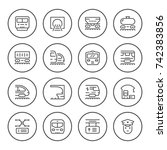 set round line icons of railroad | Shutterstock .eps vector #742383856
