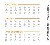 set line icons of clothes ... | Shutterstock .eps vector #742383892