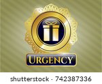 gold shiny badge with gift box ... | Shutterstock .eps vector #742387336