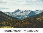 mountains and forest landscape...   Shutterstock . vector #742389922