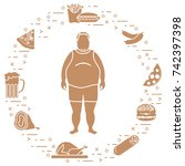 fat man with unhealthy... | Shutterstock .eps vector #742397398