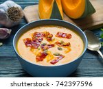 Creamy Soup Of Pumpkin With...
