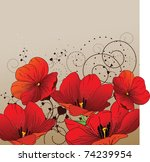 Floral Background With Red...