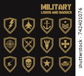 set of military and armed... | Shutterstock .eps vector #742401076