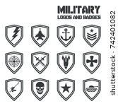 set of military and army badge... | Shutterstock .eps vector #742401082