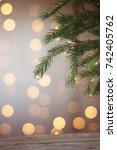 a branch of the new year tree... | Shutterstock . vector #742405762