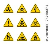 caution danger sign. hazard... | Shutterstock .eps vector #742406548