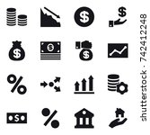16 vector icon set   coin stack ... | Shutterstock .eps vector #742412248