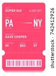 e ticket or boarding pass card... | Shutterstock .eps vector #742412926
