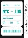 e ticket or boarding pass card... | Shutterstock .eps vector #742412995