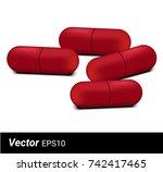 Realistic Red Capsule Medicine...