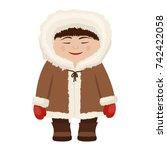 eskimo man in traditional snow... | Shutterstock .eps vector #742422058