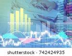 businessman on digital stock... | Shutterstock . vector #742424935