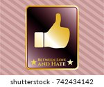 gold emblem with like icon and ... | Shutterstock .eps vector #742434142