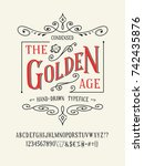 the golden age font. old retro... | Shutterstock .eps vector #742435876