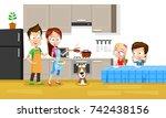 vector illustration of happy... | Shutterstock .eps vector #742438156