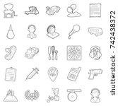children store icons set.... | Shutterstock .eps vector #742438372