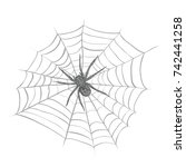 spider weaves a spider web.... | Shutterstock .eps vector #742441258