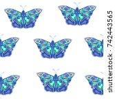 blue butterflies  raster... | Shutterstock . vector #742443565
