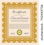 orange awesome certificate... | Shutterstock .eps vector #742443736