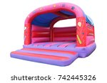 a large inflatable bouncy... | Shutterstock . vector #742445326