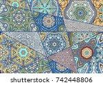 vector patchwork quilt pattern. ... | Shutterstock .eps vector #742448806