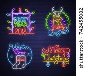 big set neon logo  label ... | Shutterstock .eps vector #742455082
