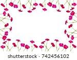 bouquet with flowering pink... | Shutterstock . vector #742456102