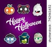 vector happy halloween greeting ... | Shutterstock .eps vector #742461652