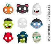vector set of halloween head... | Shutterstock .eps vector #742461658