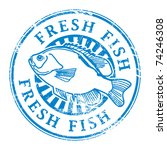 Grunge Rubber Stamp With Fish...